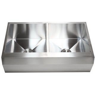 36-inch 16 Gauge Stainless Steel Farm Apron Well Angled 50/50 Double Bowl Kitchen Sink