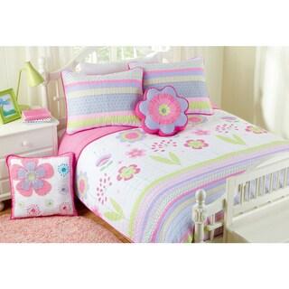 Cozy Line Pink Blossom Cotton Reversible Quilt Set
