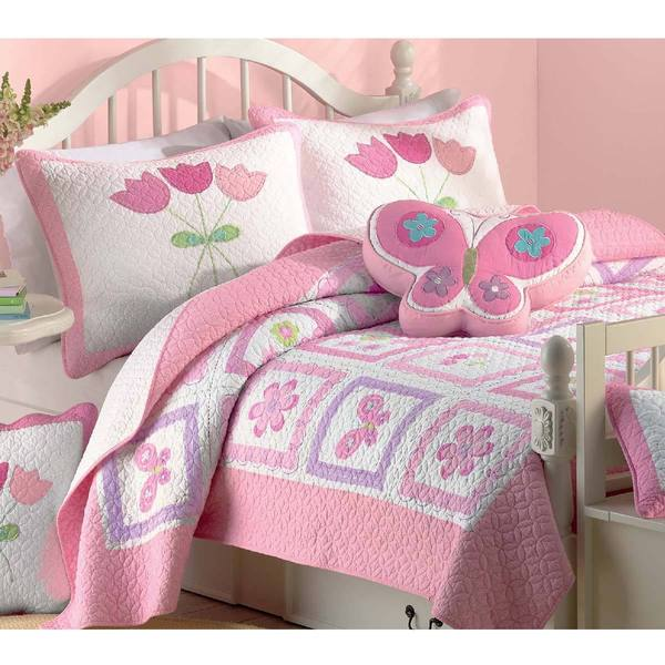 Butterfly Flower Twin-size 2-piece Quilt Set - Free Shipping Today ...