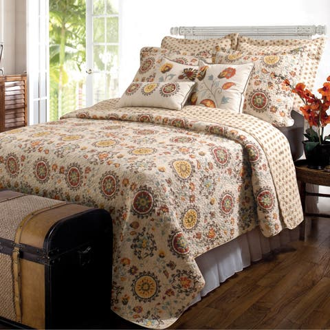 Greenland Home Andorra 5-piece Oversized Reversible Bonus Quilt Set