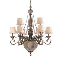 Roosevelt 9+2 light Chandelier in Weathered Patina