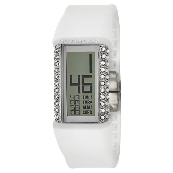 Philippe Starck Women's 'Glitz' Stainless Steel and Crystals Digital Chronograph Watch