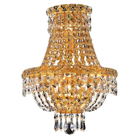 Somette Lavaux Royal Cut Crystal and Gold 3-light Wall Sconce
