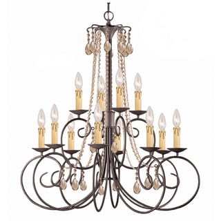 Crystorama Soho Collection 12-light Dark Rust Chandelier