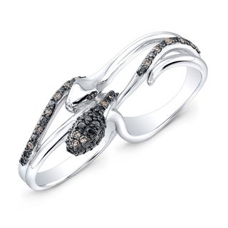 Victoria Kay Sterling Silver 1/5ct TDW Diamond Double Finger Snake Ring (J-K, I2-I3)