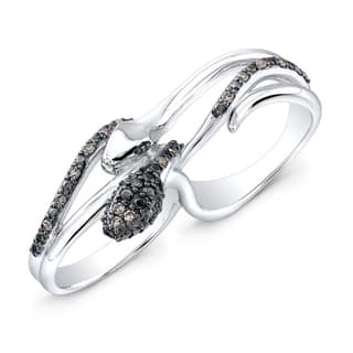Victoria Kay Sterling Silver 1/5ct TDW Diamond Double Finger Snake Ring (J-K, I2-I3)|https://ak1.ostkcdn.com/images/products/8477760/Sterling-Silver-1-5ct-TDW-Diamond-Double-Finger-Snake-Ring-J-K-I2-I3-P15766982.jpg?impolicy=medium