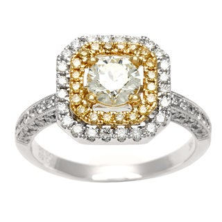Kabella Luxe 18k Two-tone Gold Halo 1 1/6ct TDW Yellow and White Diamond Ring (K-L, I1-I2)