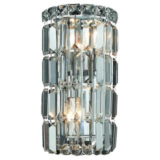 Somette 'Lausanne' 2-light Royal Cut Crystal/ Chrome Wall Sconce
