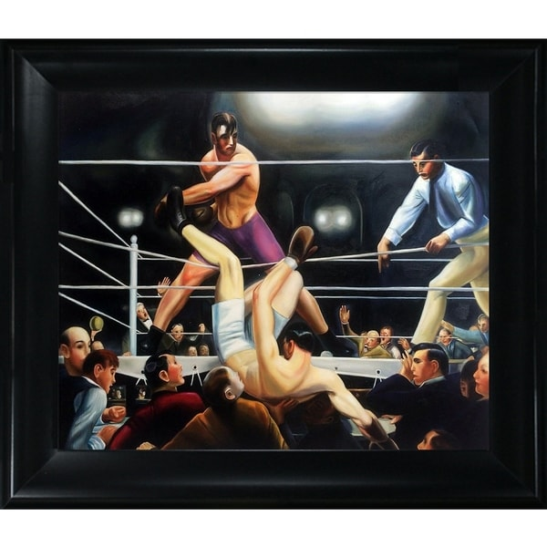 George Wesley Bellows 'Dempsey and Firpo' Hand Painted Framed Canvas Art