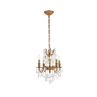 Somette Zurich 4-light Royal Cut Crystal/ French Gold Chandelier
