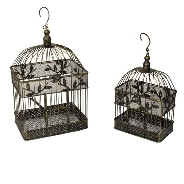 Shop Casa Cortes Decorative Metal Bird Cages Set Of 2