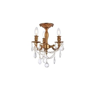Somette Lugano 3-light Royal Cut Crystal/ French Gold Flush Mount