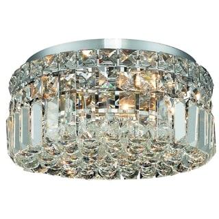 Somette Lausanne 4-light Royal Cut Crystal/ Chrome Flush Mount