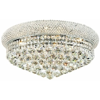 Somette Geneva 10-light Royal Cut Crystal and Chrome Flush Mount