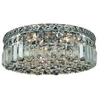 Somette Lausanne 4-light Royal Cut Crystal and Chrome Flush Mount