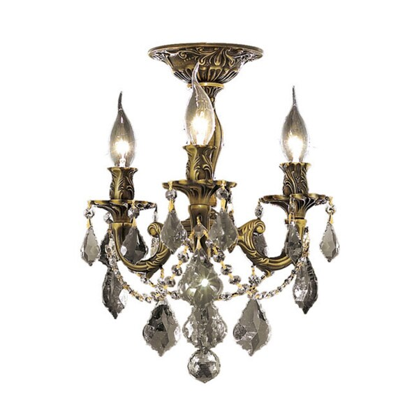 Somette Lugano 3-light Royal Cut Crystal and Bronze Flush Mount