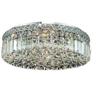 Somette Lausanne 6-light Royal Cut Crystal and Chrome Flush Mount