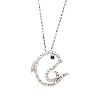 Diamonds For a Cure 14k White Gold 1/4ct TDW Dolphin Necklace