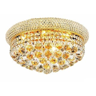 Somette Geneva 8-light Royal Cut Crystal and Gold Flush Mount