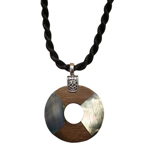Handmade Beadwork by Julie Black Shell and Grey Wood Donut Necklace