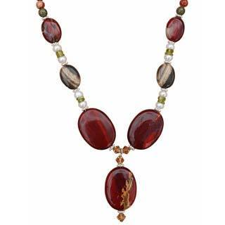 Beadwork By Julie Red Jasper, Pearl and Peridot Necklace