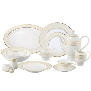La Luna Bone China 57 Piece Beige Border with Gold Trim Dinnerware Set, Service for 8 by Lorren Home Trends.