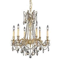 Somette Lucerne 6-light Royal Cut Gold Crystal/ French Gold Chandelier