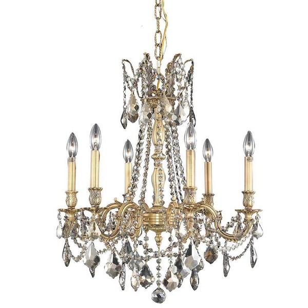 Somette Lucerne 6-light Royal Cut Gold Crystal/ French Gold Chandelier
