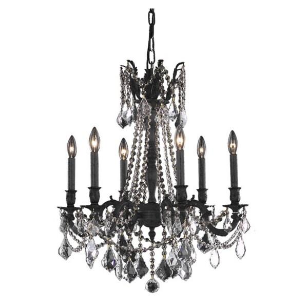 Somette Lucerne 6-Light Royal Cut Crystal/ Dark Bronze Chandelier