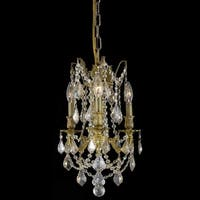 Somette Lugano 3-light Royal Cut Gold Crystal/ French Gold Chandelier