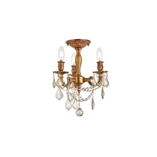 Somette Lugano 3-light Royal Cut Crystal and French Gold Flush Mount