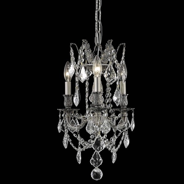 Somette Lugano 3-light Royal Cut Crystal and Pewter Chandelier