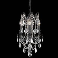 Somette Lugano 3-light Royal Cut Crystal and Antique Bronze Chandelier