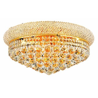 Somette Geneva 10-light Royal Cut Crystal and Gold Flush Mount