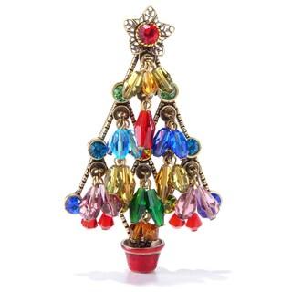 Sweet Romance Rainbow Bead Gold Retro 1950s Christmas Tree Pin