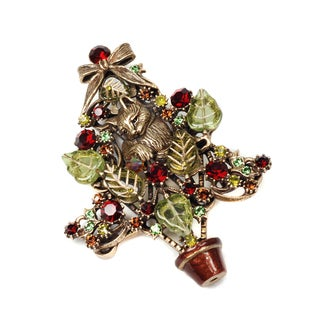 Sweet Romance Kitten In The Christmas Tree Vintage Pin