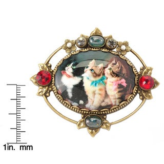 Sweet Romance Vintage Lithograph Santa, Kittens and Puppies Holiday Christmas Pins / Brooches