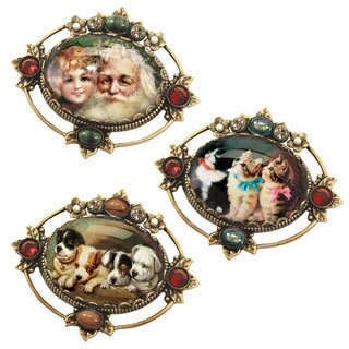 Sweet Romance Vintage Santa, Kittens Puppies Holiday Christmas Pins Brooches