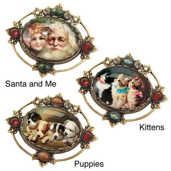 Sweet Romance Vintage Santa, Kittens Puppies Holiday Christmas Pins Brooches