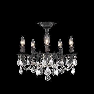 Somette Meilen 5-light Royal Cut Crystal and Antique Bronze Flush Mount
