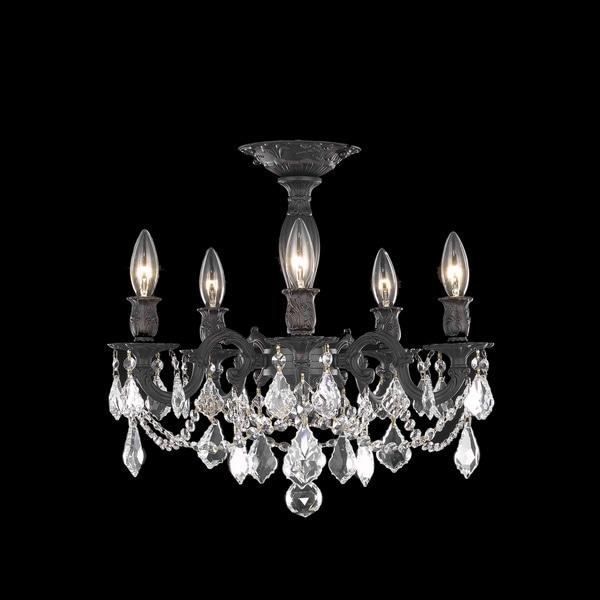 Somette Meilen 5light Royal Cut Crystal and Antique Bronze Flush