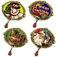 Sweet Romance Snowman, Santa, Reindeer, Cat, Merry Christmas Vintage Pins
