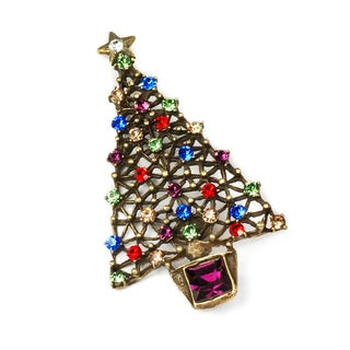 Sweet Romance Christmas Tree Retro Crystal Pin