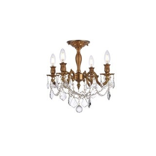 Somette Zurich 4-light Royal Cut Crystal and French Gold Flush Mount