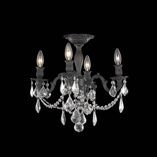 Somette Zurich 4-light Royal Cut Crystal and Bronze Flush Mount