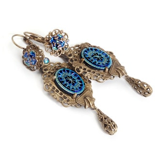 Sweet Romance Vintage Peacock Glass Iridescent Blue Filigree Earrings