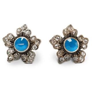 Sweet Romance Jasmine Flower Stud Crystal Earrings