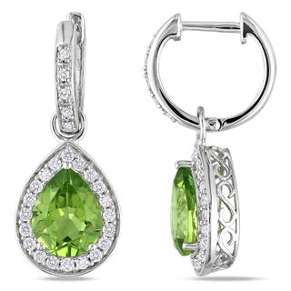 Miadora 14k White Gold Peridot and 1/2ct TDW Diamond Drop Earrings (G-H, I1-I2)