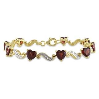 Miadora Yellowplated Silver Garnet and Diamond Heart Bracelet (I-J, I2-I3)