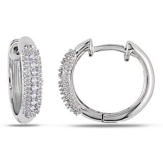 Miadora 14k White Gold 1/10ct TDW Diamond Cuff Earrings